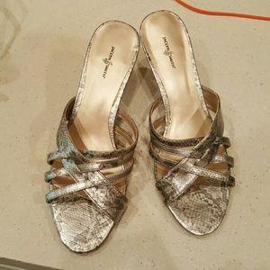 Jaclyn Smith Shoes - Silver kitten heels. Super sexy