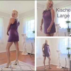 Kische Dresses & Skirts - Kische purple dress, ruffled at arm and neck line