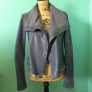"""Veda Jackets & Blazers - LAST CHANCE Veda """"Max Classic"""" Blue Leather Jacket"""