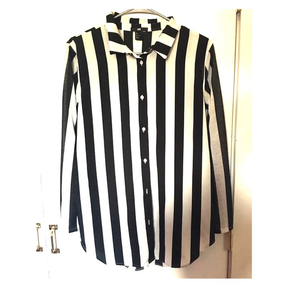 9fea66b831 H&M Tops   Vertical Striped Button Down Blouse   Poshmark