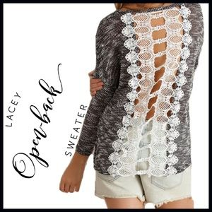 Crochet Lace Back Lightweight Sweater