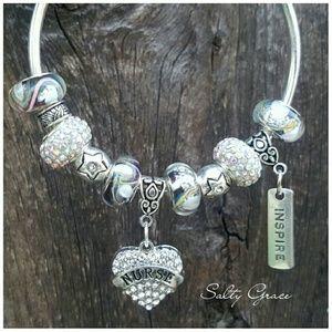 Salty Grace  Jewelry - Nurse, RN silver charm bangle