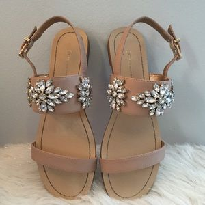 cdc8d7226ef29 BCBGeneration Shoes - BCBGeneration Nude Flats Sandals with Rhinestones