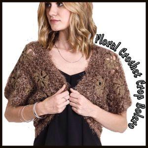 Boutique Sweaters - Floral Crochet Crop Bolero