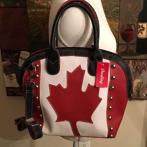 RED, WHITE, AND BLACK MAPLE LEAF BOWLER BAG NWT