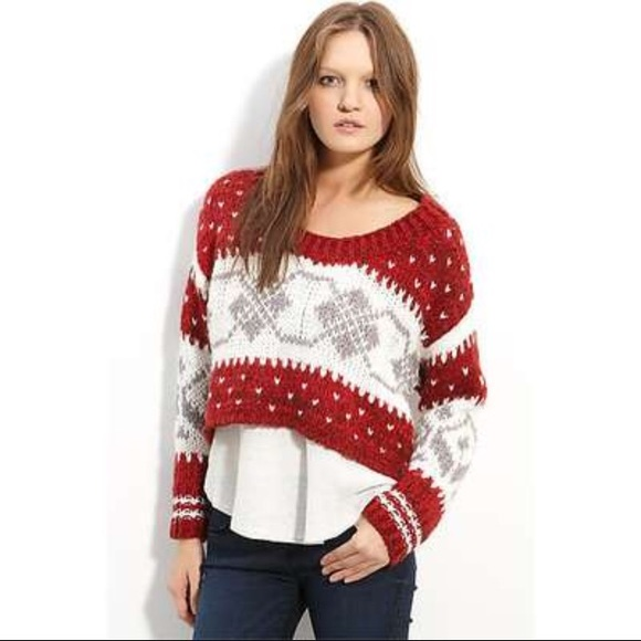 75% off Free People Sweaters - Free People Red & White Fair Isle ...