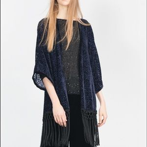 Zara Jackets & Blazers - Zara lace/fringed kimono🙏🏻