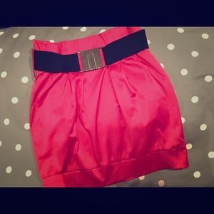 Cute Forever 21 F21 Hot Pink Belted Skirt XS Retro