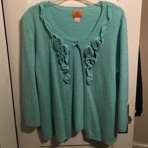 Sweaters - Teal 3/4 sleeve cardigan