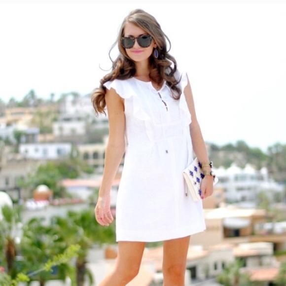 J Crew White Linen Flutter Sleeve Dress