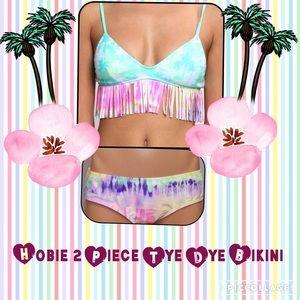 Hobie Other - 2 Piece LARGE Hobie Bikini Tye Dye Pattern Fringed