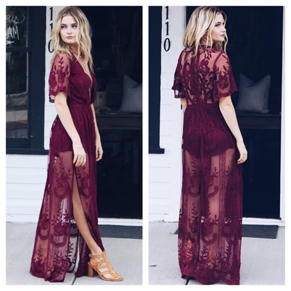 Honey Punch - TOP SELLER* *LAST* Wine Red Lace Maxi Dress from ...