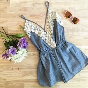The Serena Denim Ivory Romper