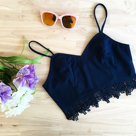 Citrus and Lavender Lane Tops - The Torie Crochet Top in Navy