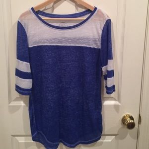 Blue and White Jersey Style Top