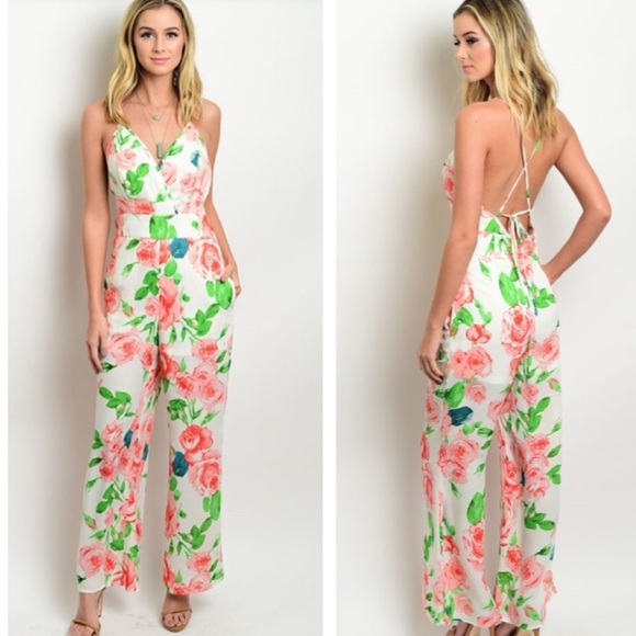 Citrus And Lavender Lane  Dresses & Skirts - White Floral Jumpsuit