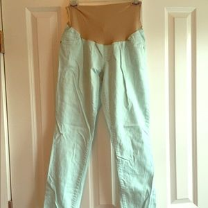 Indigo Blue Denim - Mint green skinny full panel maternity jeans