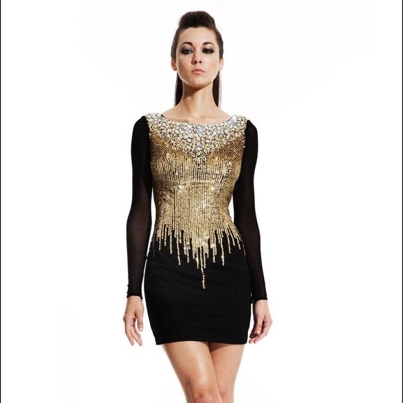 Johnathan Kayne Dresses Black Gold Sequin Long Sleeve Cocktail