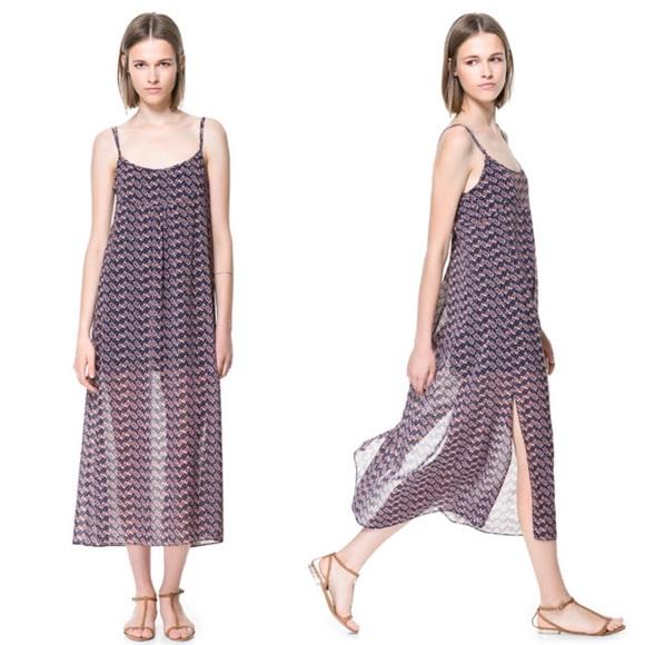 e2fa105b Zara Blue Tribal Printed Side Slit Strappy Dress. M_57b684995c12f82a9f00aefe