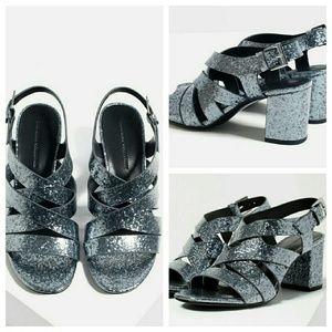 Zara sparkly strappy sandals grey 8 heels rockstar