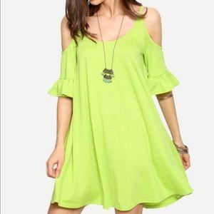 Fruit green open shoulder dress