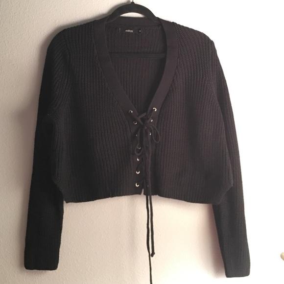 b4cb5663d6 LF Sweaters - Milau (LF) lace up cropped sweater