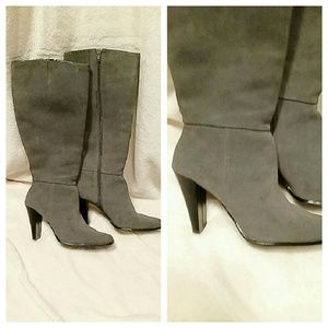 Gray heeled boots