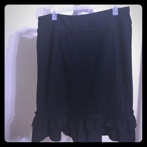 LAPIS Black Pleaded Ruffle Skirt [SK-50]