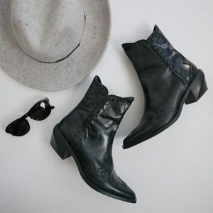 Zara black leather cowboy ankle boots size 8