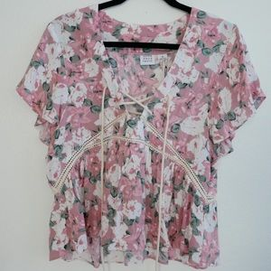 Pink floral top new with tags