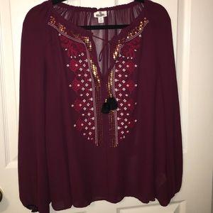 Altuzarra Tops - Altuzarra Burgundy Long Sleeve Blouse