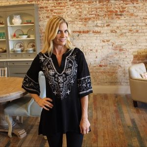 Black embroidered print tunic