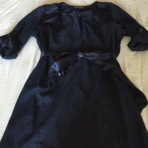 Maude Navy Belted Dress