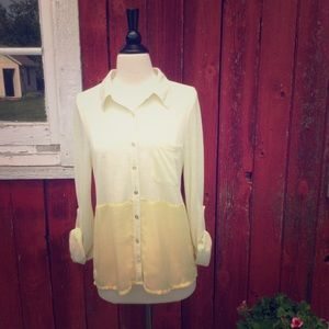 Daytrip Tops - Yellow sheer contrast button down