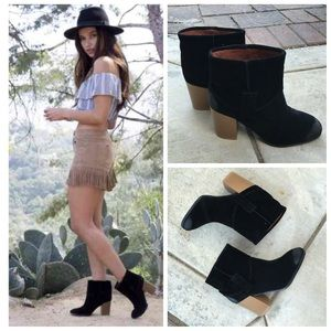 Shoes - Black suede almond toe fold over ankle bootie
