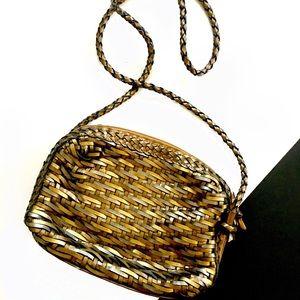 Vintage woven leather metallic crossbody bag