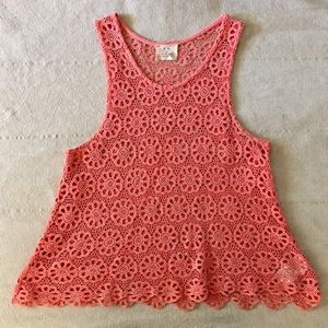 Pins & Needles Tops - PINS & NEEDLES Floral Crochet Tank -- Coral