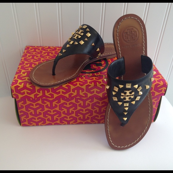 f18434eb6353 Tory Burch Black Dale Studded Thong sandals Size 8.  M 57b73db12ba50ab1c5000d1c