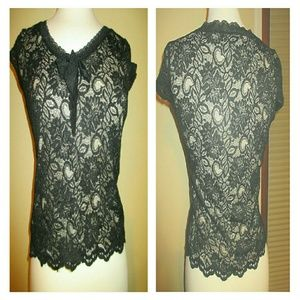 Emma James Tops - Black Knit Top with Lace and Liner Career Casual