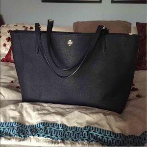 Tory Burch York Navy Tote Large