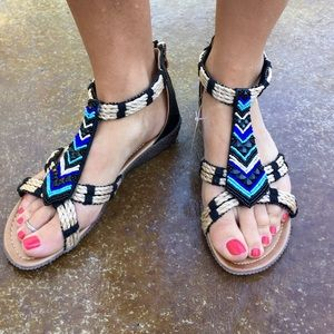 Boho beaded sandals with twine accents