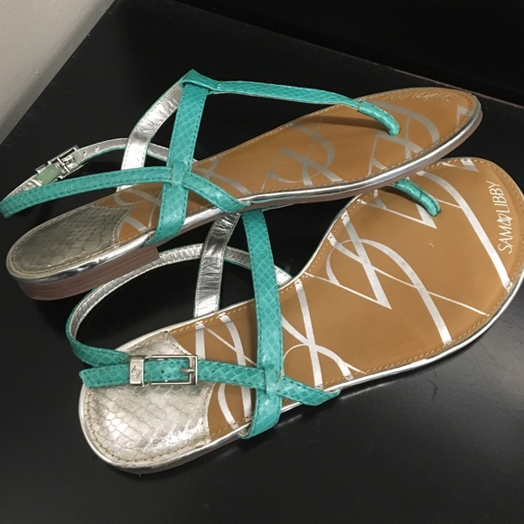 68 Off Sam Amp Libby Shoes Cute Teal Amp Silver Sandals