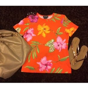 Ralph Lauren Floral Shirt- Orange