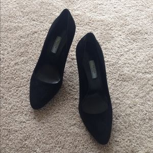 prada milano black suede high heels 37