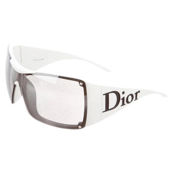 7029f49bb3 Christian Dior Accessories - Christian Dior White Wide Frame Sunglasses