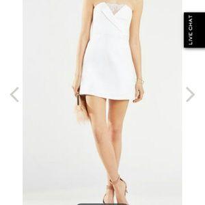 Bcbg white lace mini dress