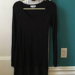 Black soft dress with vegan leather trim