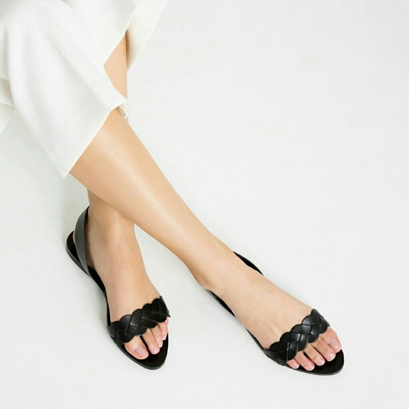Zara - ZARA black leather sandals size 9 us / 40 european from ...