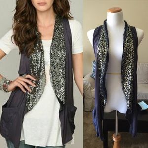 | new | Free People Purple Sequin Boho Vest