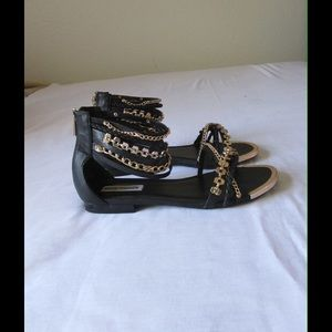 Steve Madden Shoes - Chic Black Steve Madden Sandals W/ Chain Details